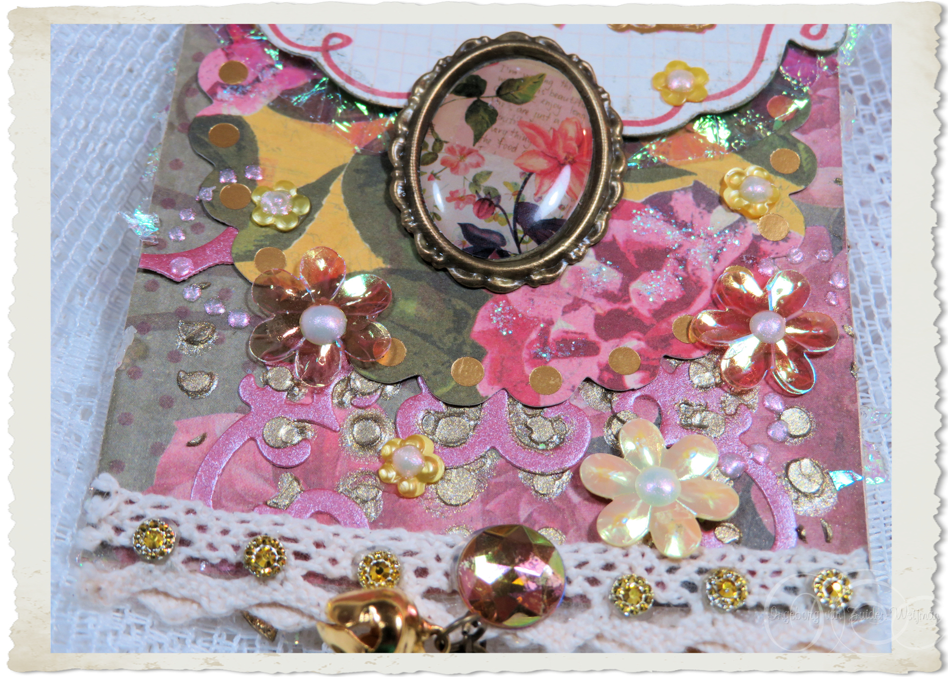 Flower sequins on handmade love tag