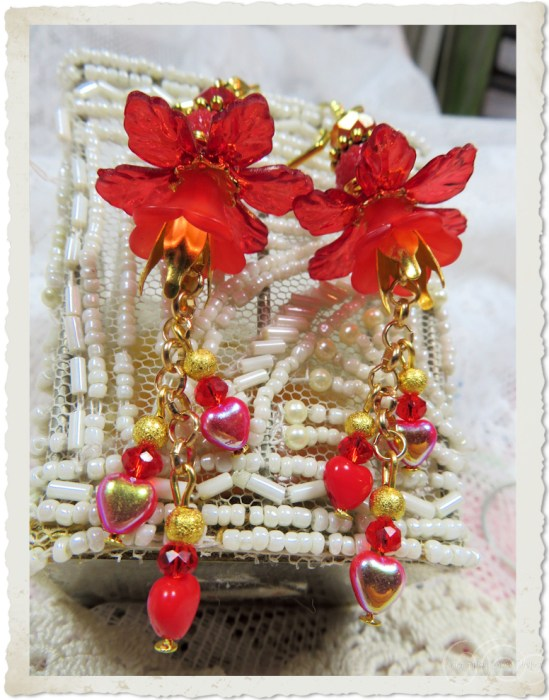 Red gold AB shine heart earrings with flowers