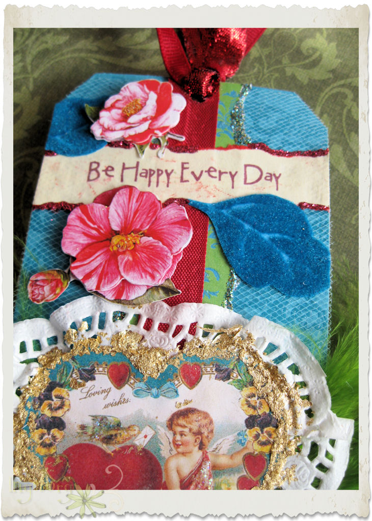 Details of flowers and leaves on Valentine's Tag