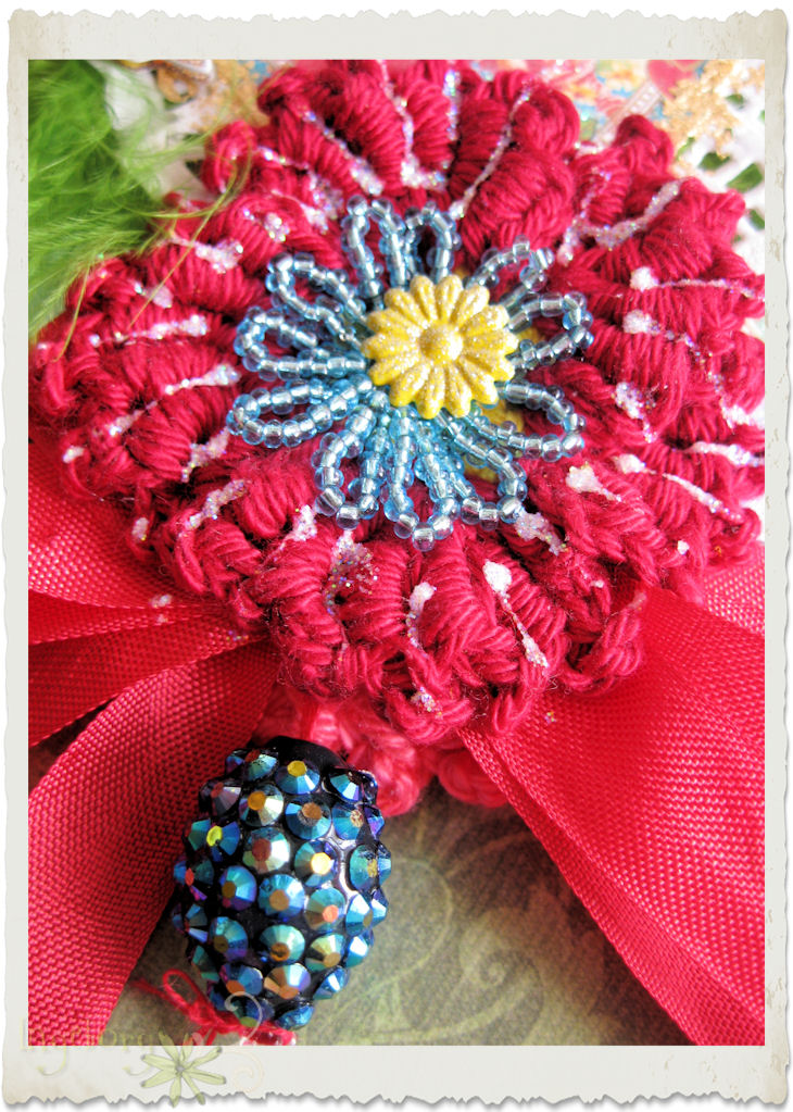 Dark red crochet poppy flower dangle
