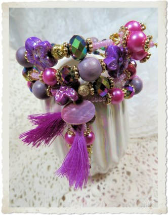 Purple pink memory wire bracelet with tassels