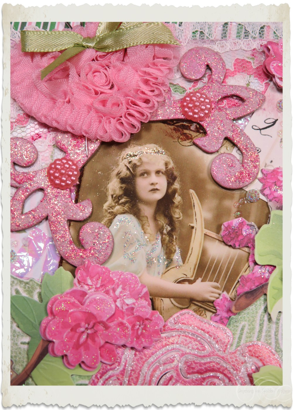 Details of handmade pink vintage Rose card