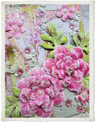 Details of handmade card with pink Arianna blooms flowers from Heartfelt Creations stamps and dies