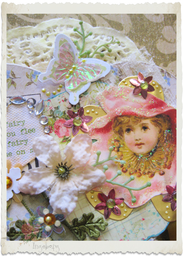 Vintage fairy with silk flower
