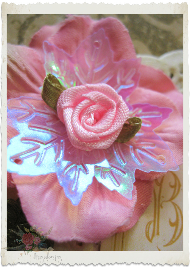Silk rose with sequins