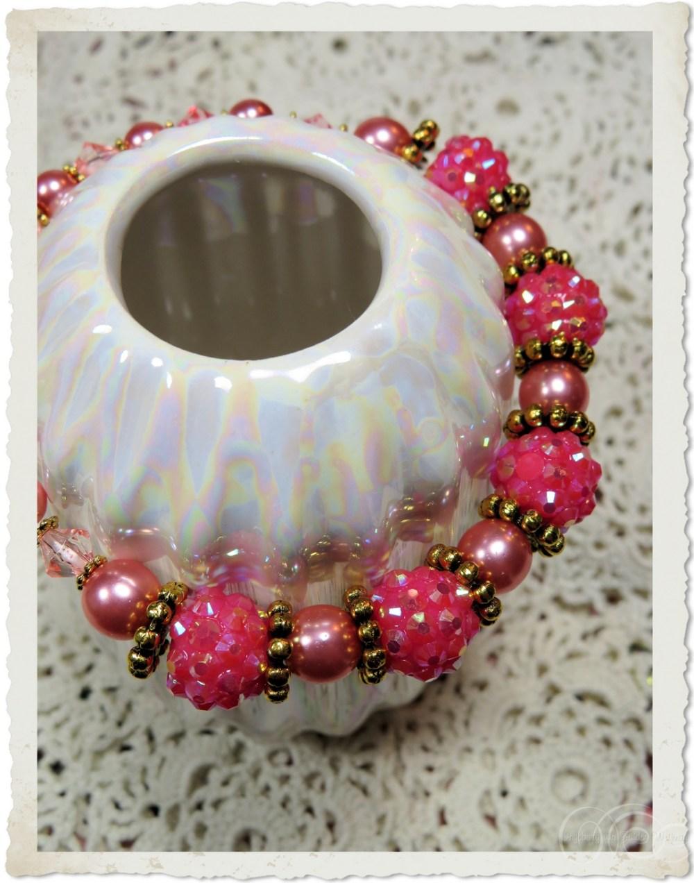 Pink shamballa beaded bracelet