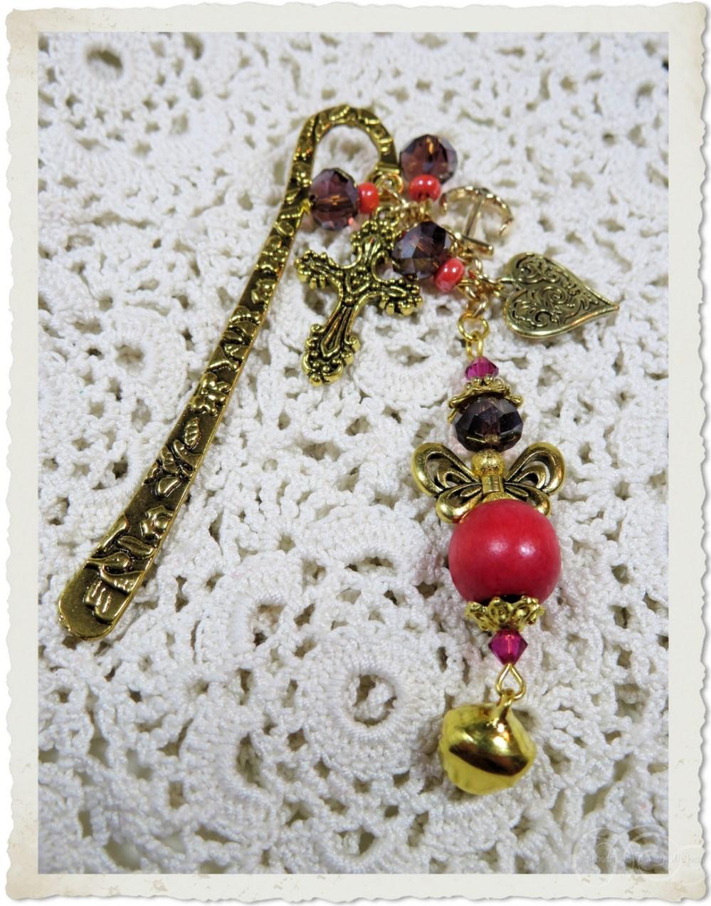 Handmade beaded bookmark with angel and prayer charms by Ingeborg van Zuiden