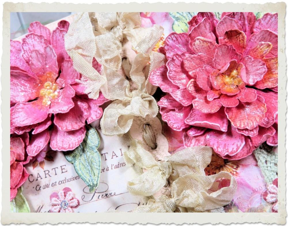 Pink handmade peony flowers by Ingeborg van Zuiden