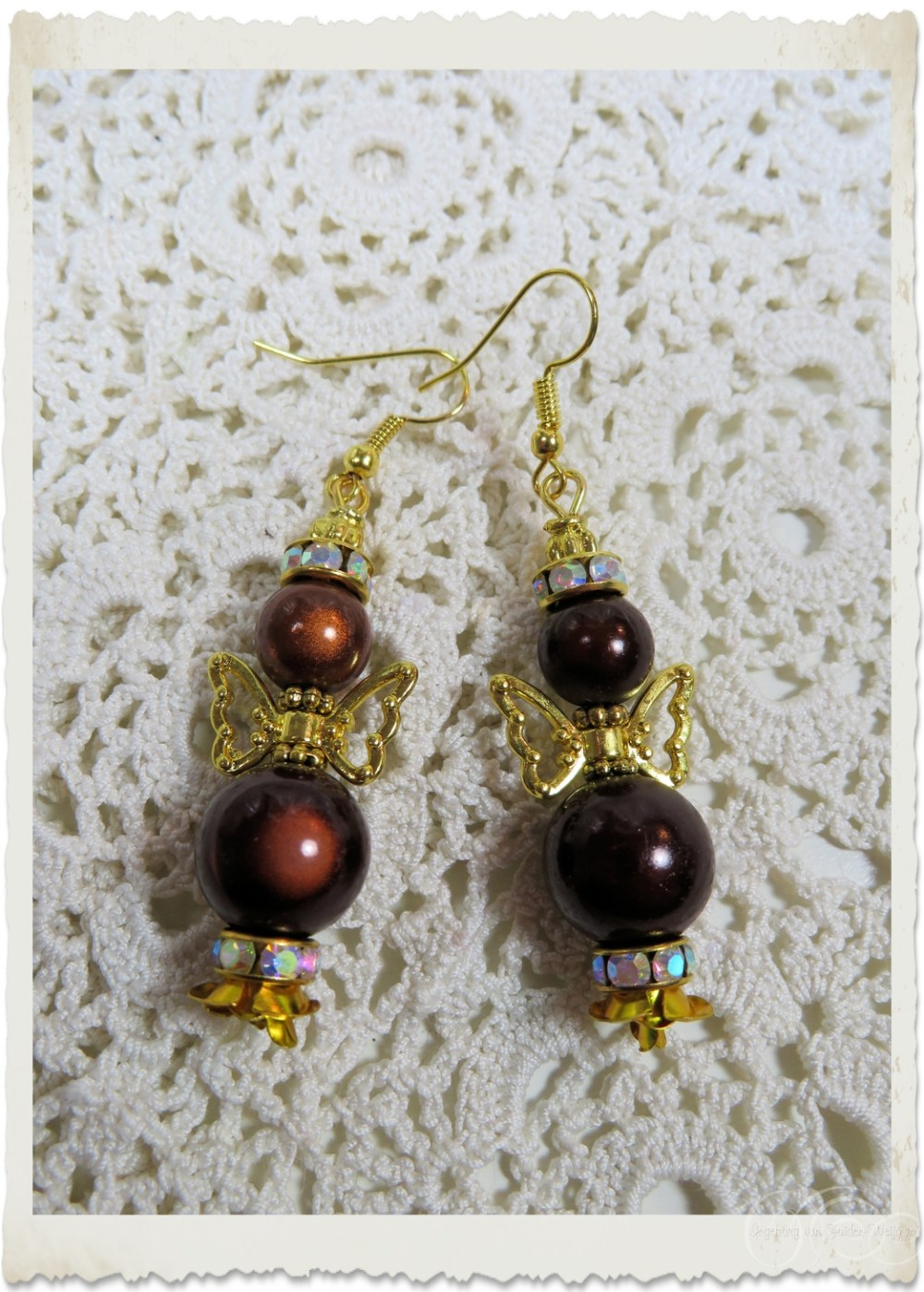 Brown miracle beaded angel earrings