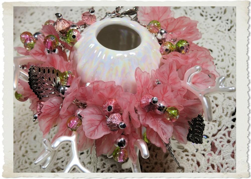 Pink acrylic leaf bracelet