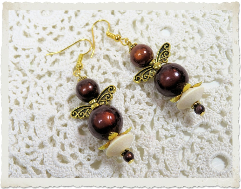 Brown angel earrings with wooden beads