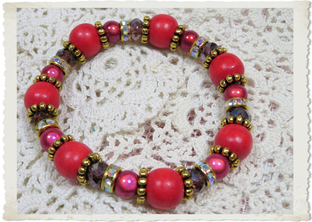 Red pink magical bracelet with bling