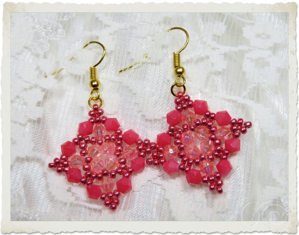 Pink gold earrings with bicones