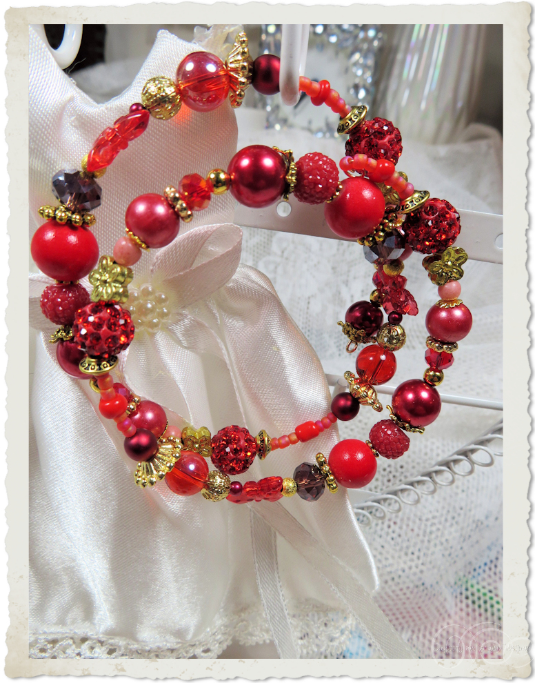Red pearl memory wire bracelet with shamballa beads