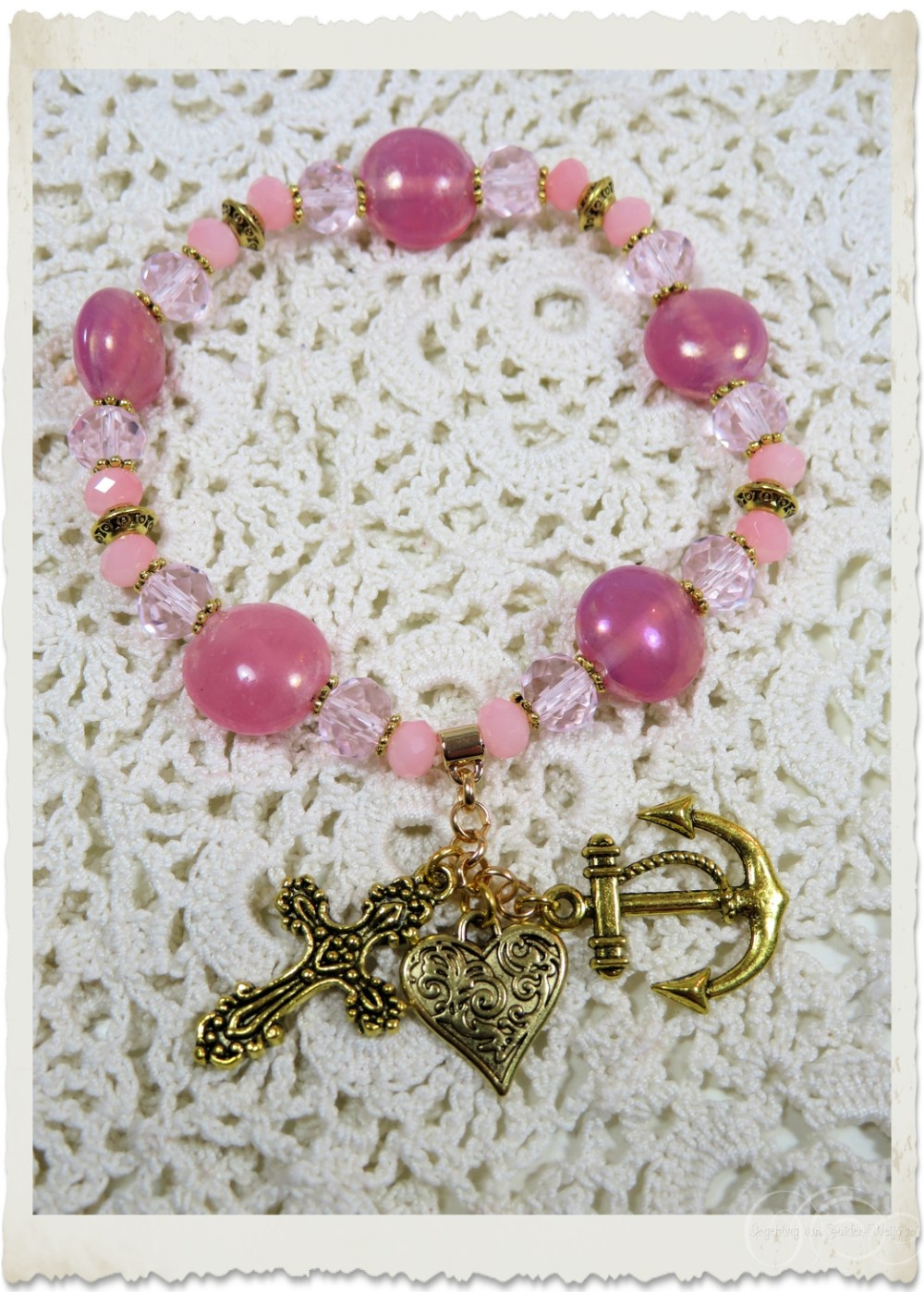 Pink gold nugget bracelet with charms
