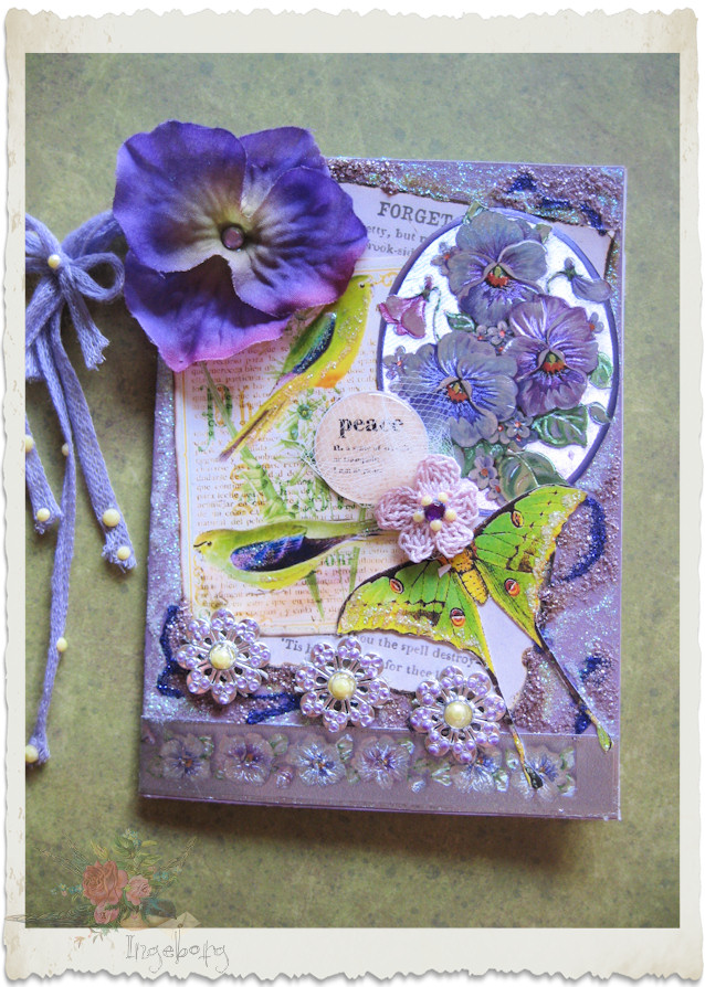 Handmade pansy card with peace bird