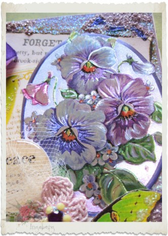 Purple pansies on a card
