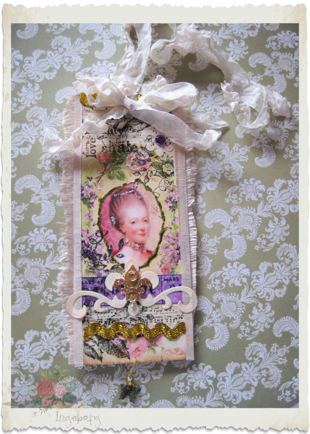 Handmade Marie-Antoinette paper tag with ribbons