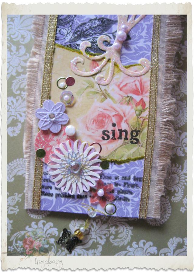 Details of handmade floral paper tag by Ingeborg van Zuiden