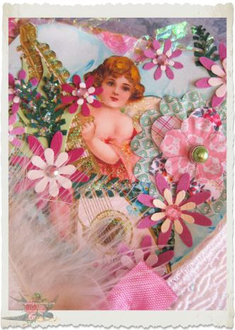 Angel with pink handmade flowers