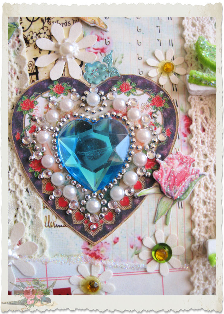 Paper heart with blue crystal