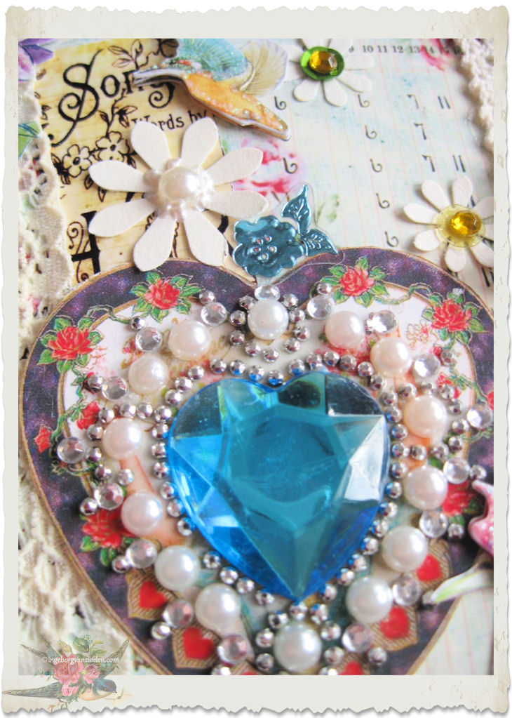Blue bling heart with pearls