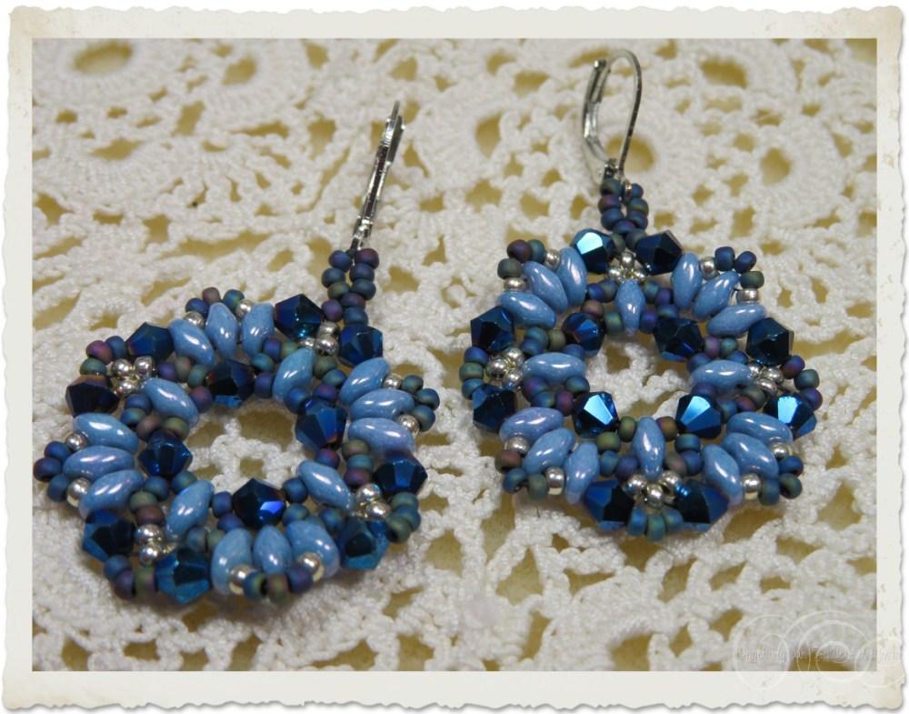 Blue superduo wreath earrings