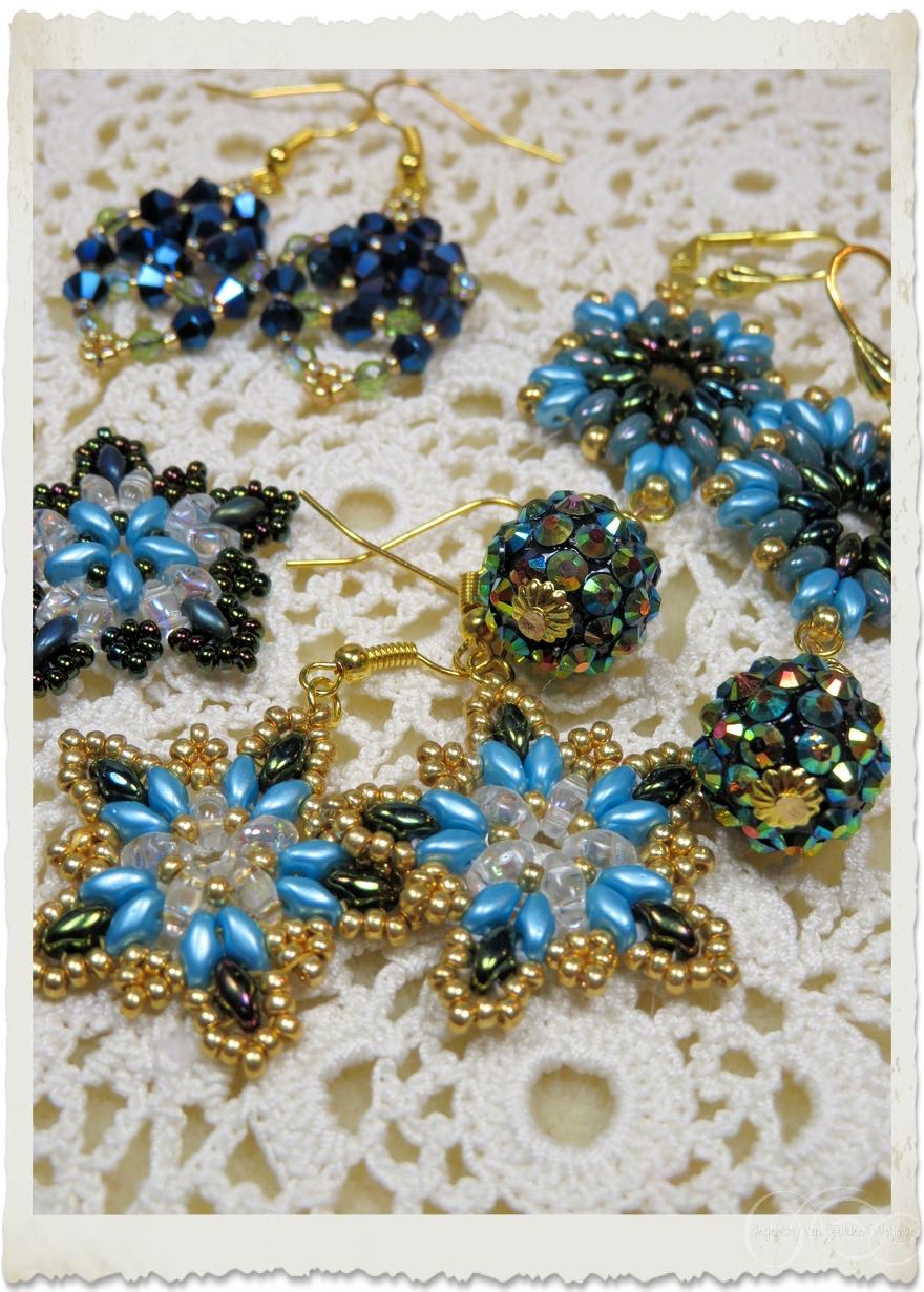 Batch of blue beadweaving earrings