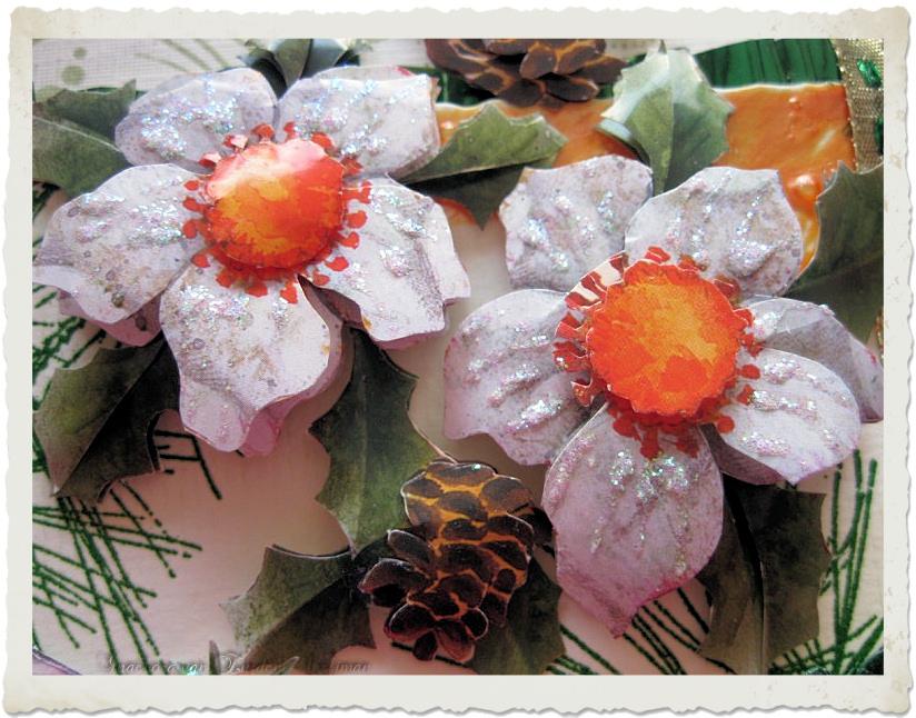 3d Helleborus Christmas flowers