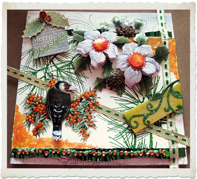 Handmade 3d Christmas card with woodpecker and berries