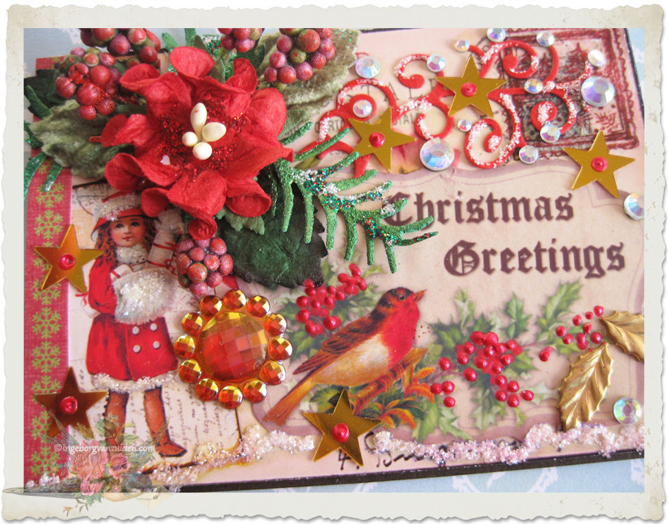 ATC ACEO for Christmas with red robin