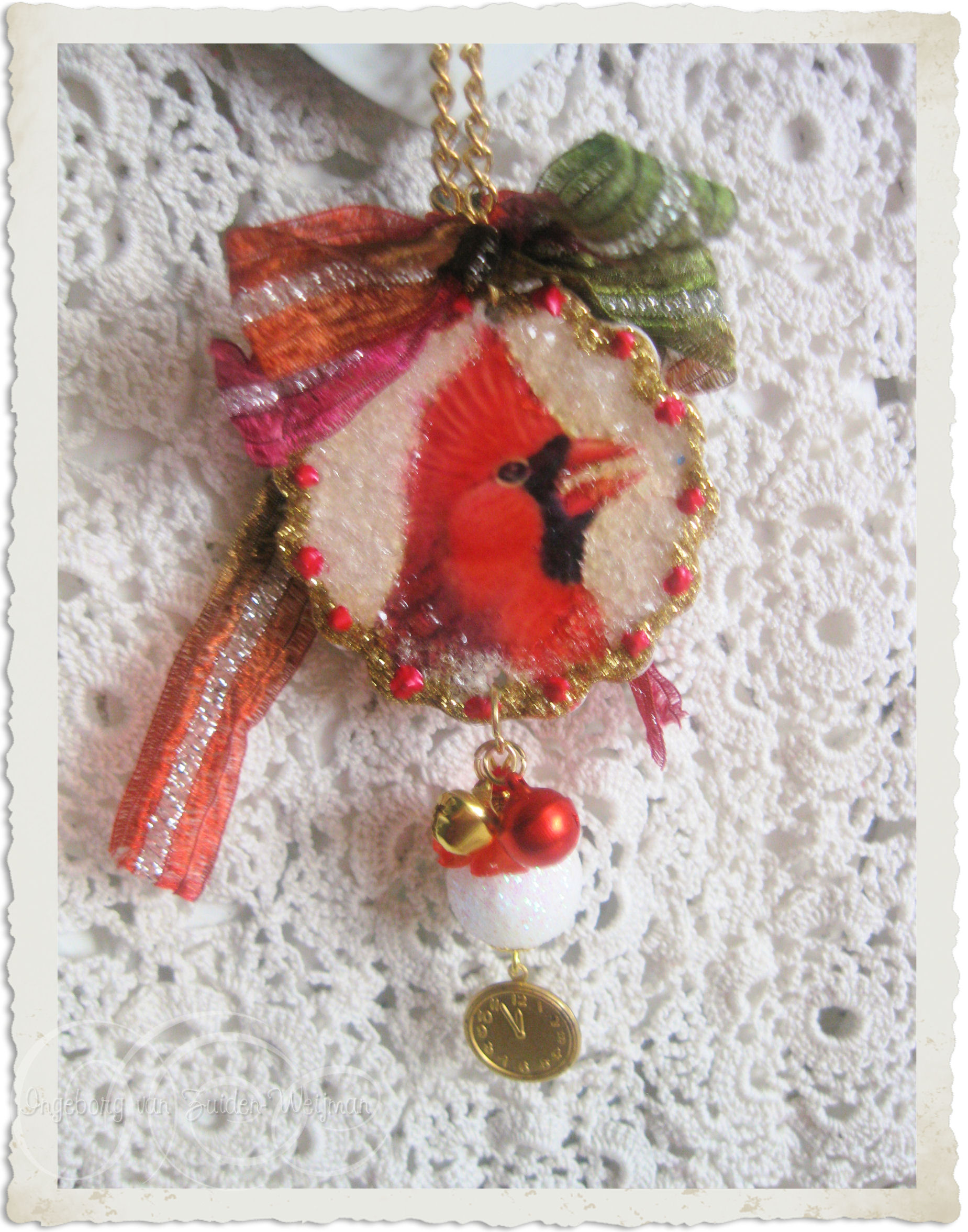Red Cardinal tree hanger with charm hanger