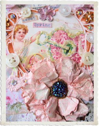 Details of handmade pink spring hanger with paper flower