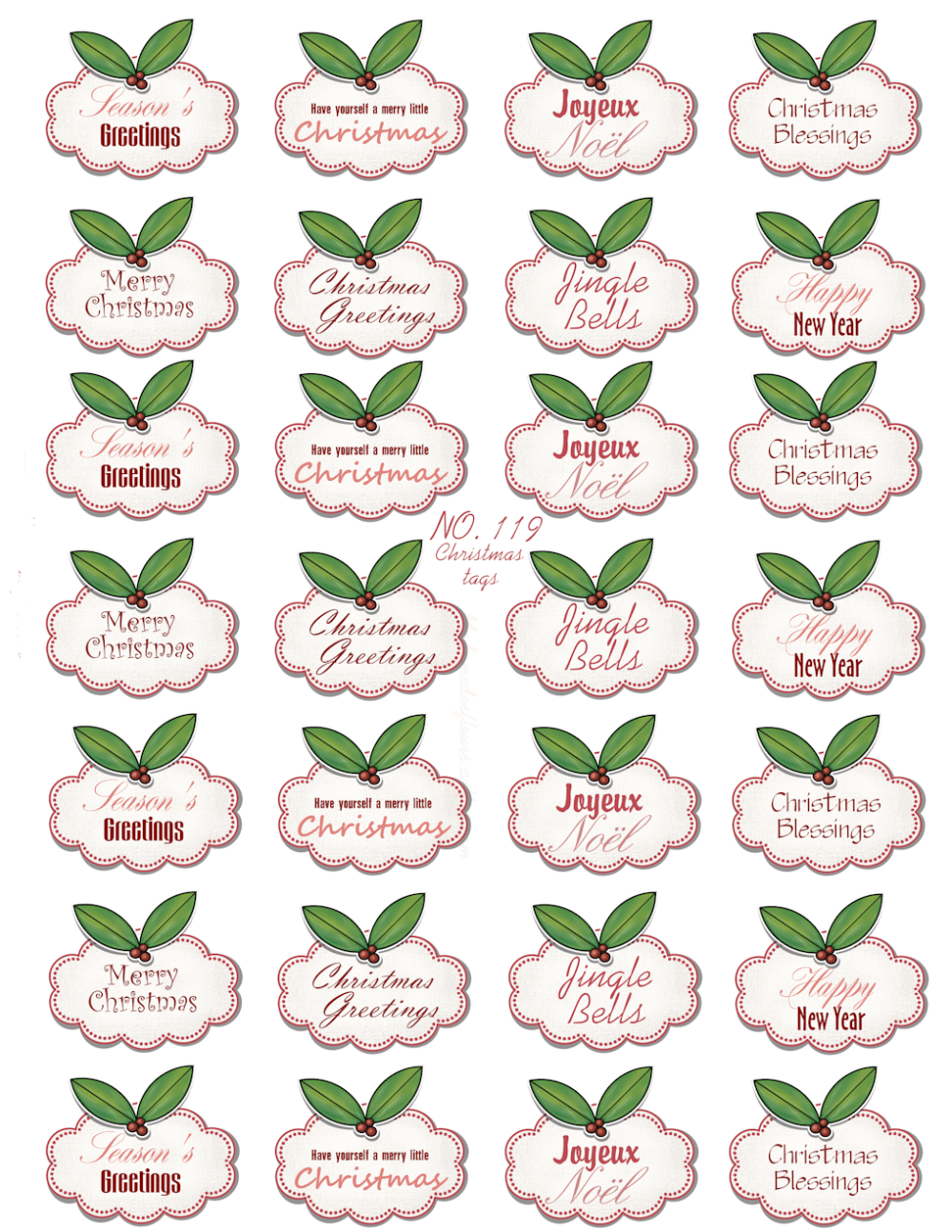 Collage sheet example Christmas wordart tags no. 119 by Ingeborg van Zuiden