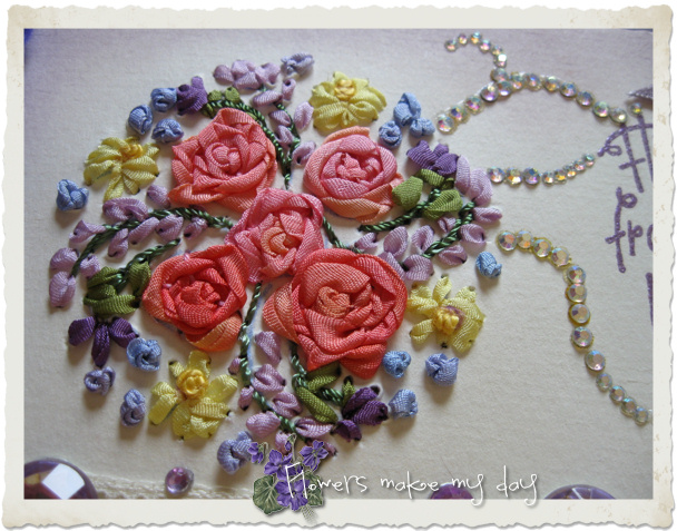 Silk ribbon embroidery rose bouquet on a handmade card