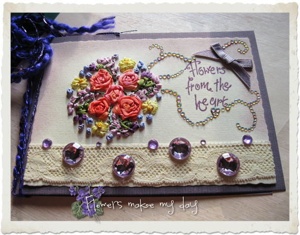 Handmade card with silk ribbon embroidery roses and bling stones