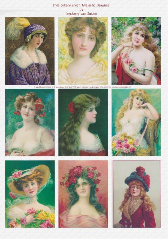 Preview Majestic Beauties - A free digital collage sheet by Ingeborg van Zuiden