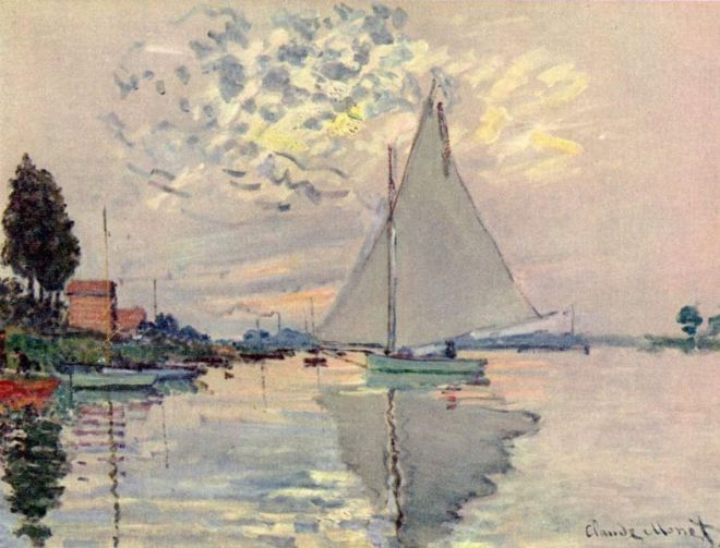 """Sailboats in Le Petit-Gennevilliers"" by Claude Monet"