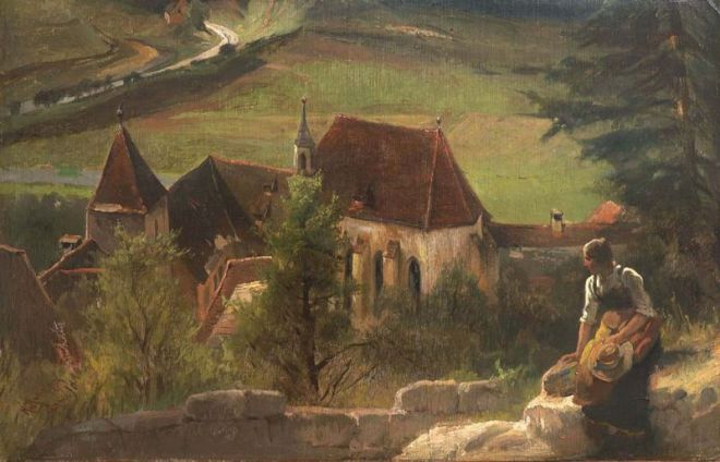 """View of the Old Augustinian Monastery in Pappenheim"" by Karl Raupp"