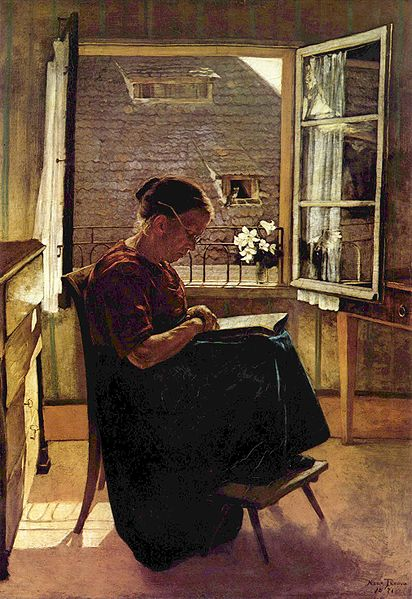 """The Artist's Mother in the Little Room"" by Hans Thoma"