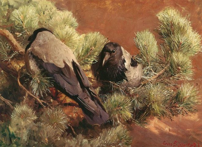 """Hooded Crows"" by Bruno Liljefors (1860–1939) Swedish Wildlife Painter"