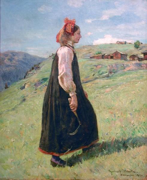 """""""Dairymaid"""" by Gerhard Munthe (1849–1929)"""