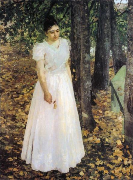 """Autumn. Young Woman in a Garden."" by Konstantin Korovin"