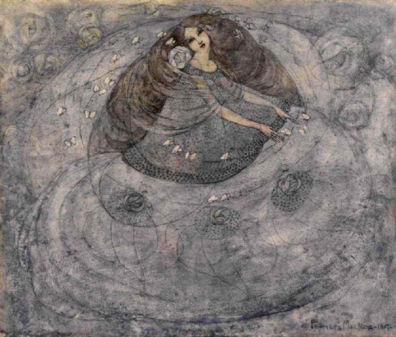 """Girl & Butterflies"" by Frances MacDonald"