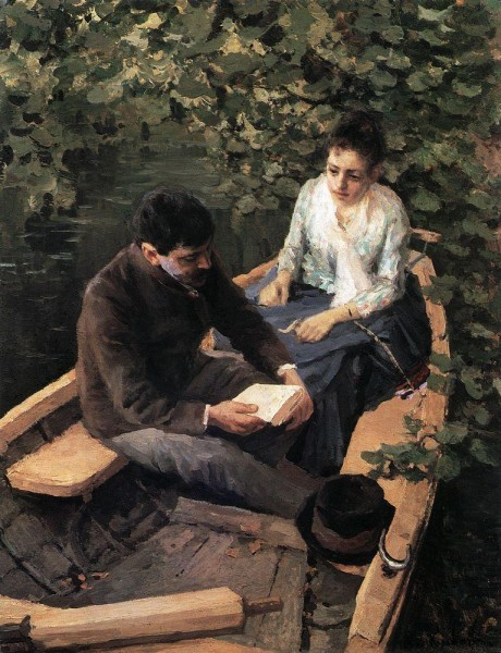 """In the Boat"" by Konstantin Korovin (1861-1939) Russian Impressionist Painter"