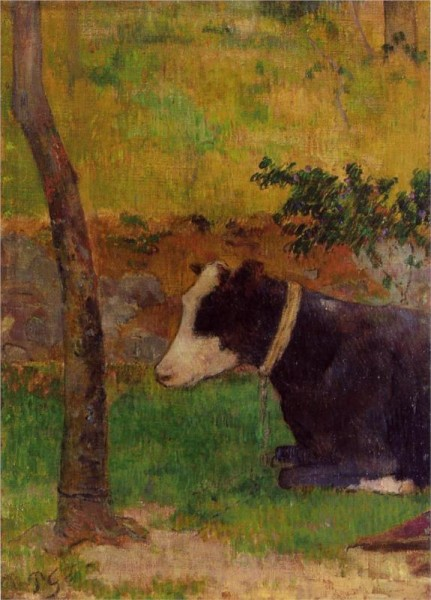 """Kneeling Cow"" by Paul Gauguin (1848–1903) French Post-Impressionist Artist"