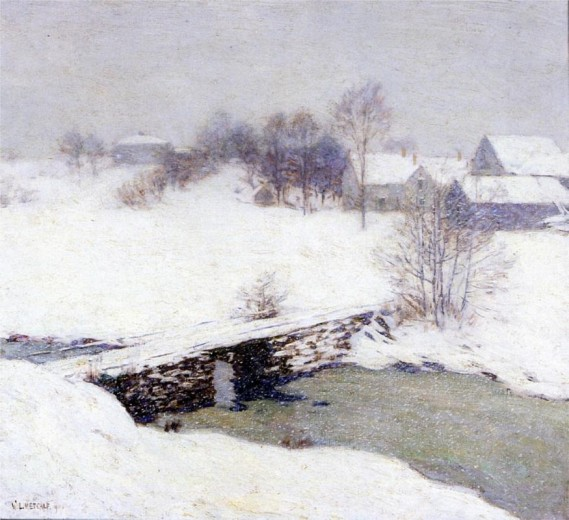 """The White Mantle"" by Willard Metcalf (1858-1925) American Painter"