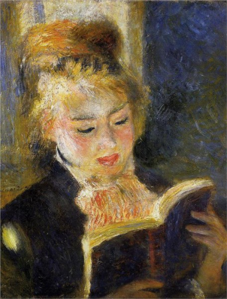 """The Reader (Young Woman Reading a Book)"" by Pierre-Auguste Renoir (1841–1919) French Impressionist Painter"