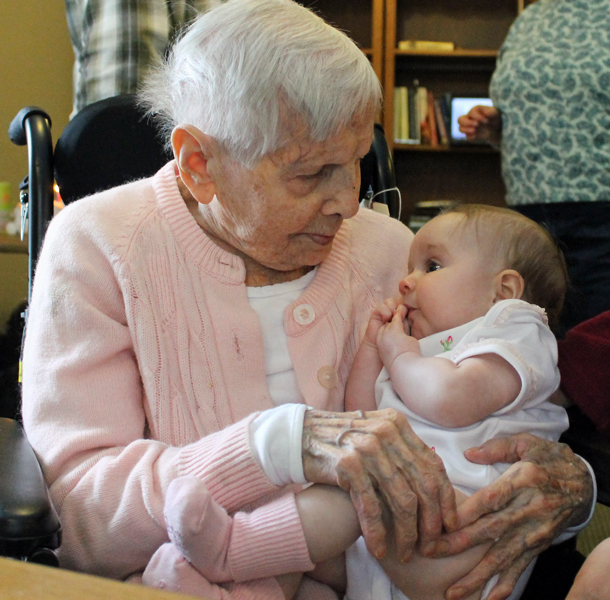 Aunt Lil (with her great-grandniece Katie) on her 100th birthday