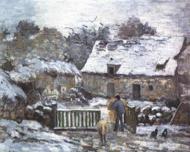 """Farm at Montfoucault 2"" by Camille Pissarro (1830-1903) French Impressionist & Neo-Impressionist Painter"